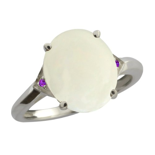 4.01 Ct Oval/cabouchon White Opal and Purple Amethyst 14k White Gold Ring