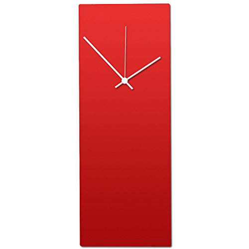 Metal Art Studio Redout White Clock Contemporary Wall Decor, Small, Red Face Hands