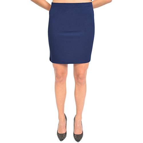 Stretch is Comfort Women's Cotton Mini Skirt Navy Blue Large