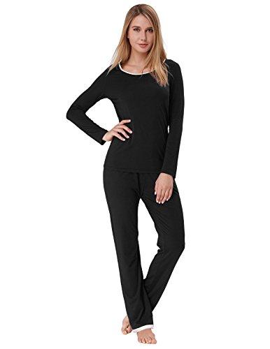 Women's Sleepwear Set Long Sleeve Pajama Tops with Full Pants Black Size S ZE46-1