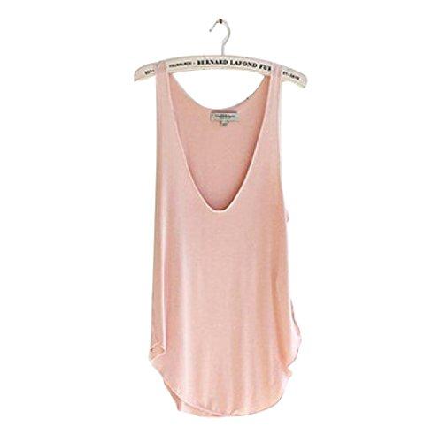 Candy Womens Pink T-shirt (Lisingtool Women's Summer Sleeveless V-Neck Candy Vest Loose Tank Tops T-shirt (Pink))