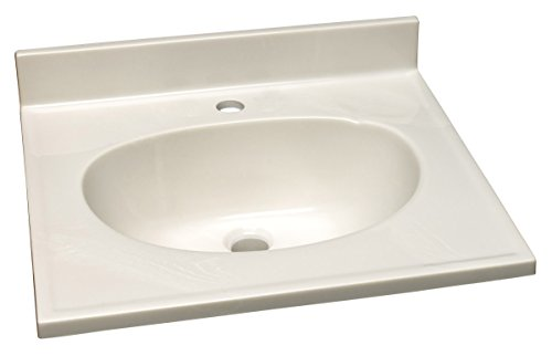 Design House 522045 Marble Single Faucet Hole Vanity Top, White on White - Marble Top Single
