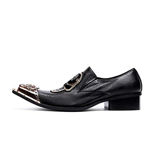 Glshi Negro Británico Cuero Botas Estilo Señaló Zapatos Oxford Negocios La Masculina Hierro Hombre Moda Fiesta De Novedad 8nwaqvx8rz