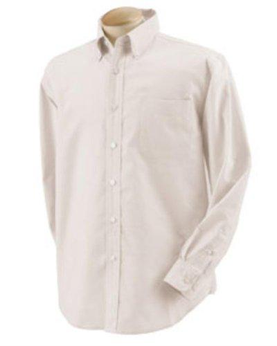 Devon & Jones Men's Long Sleeve Five-Star Performance Oxford Button Down Dress Shirt D655 beige Small Devon And Jones Cotton Dress Shirt