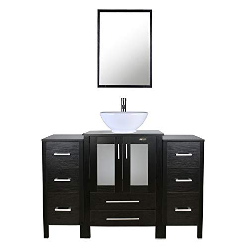 48 inch Bathroom Vanity,Porcelain Vessel Sink Combo,2 Side Cabinets,Removable,Free Stand Vanity,1.5 GPM Faucet,Bathroom Vanity Top With Porcelain White Sink with Overflow(black)