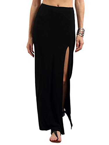 Verdusa Women's Solid Color High Waist Side Split Maxi Skirt Black M