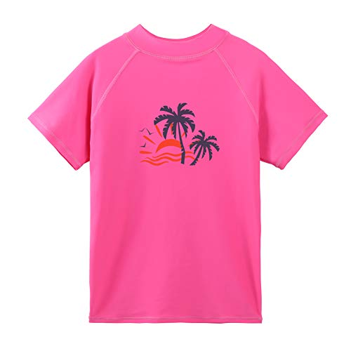 T-shirt Suit - TFJH E Girls Short Sleeve Swim Tshirt UPF 50+ Kids Rash Guard Swimming Tees Coco Tree, HotPink Short 10A