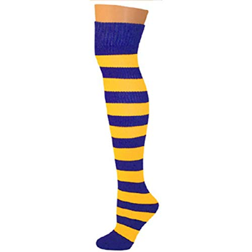AJs Adult Long Knee High Striped Socks - Blue/Gold, Sock size 11-13, Shoe Size 5 and up