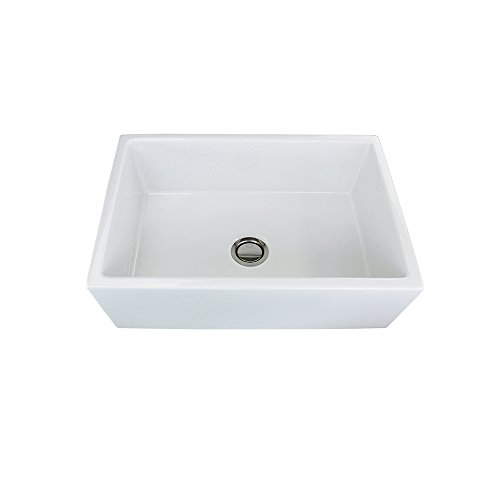 French Farm Collection (Transolid FUSH302010 Versailles 30-in x 20-in x 10-in Single Bowl Reversible (French/Plain) Farmhouse Fireclay Kitchen Sink, White)