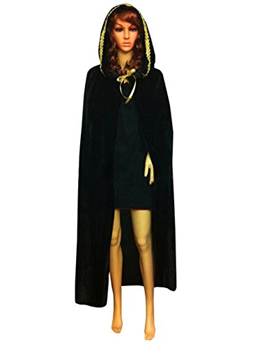 Cape Child Panne Costumes (LETSQK Velvet Hooded Cloak Unisex Halloween Costume Party Cape Role Cosplay Black L)