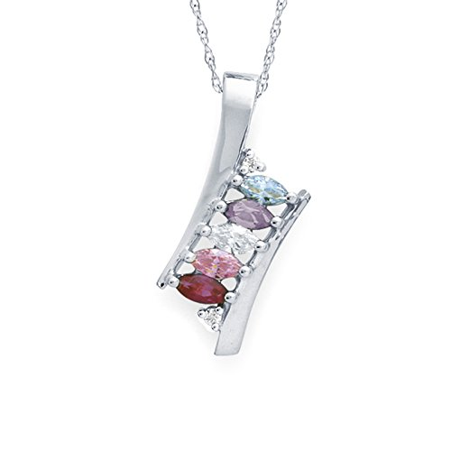 Mothers Birthstone and Diamond Accent Pendant Necklace - Custom Made