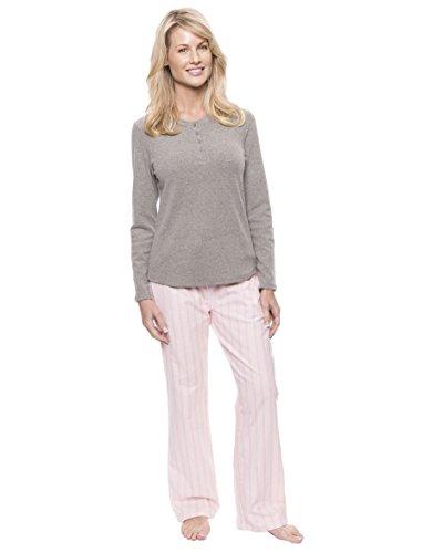 Women's Cotton Flannel Lounge Set - Stripes Pink - (Super Stripe Waffle)