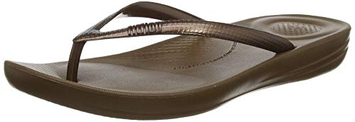 FitFlop Women's IQUSHION FLIP Flop-Solid, Bronze, 9 M US