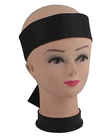 Satin Edge Laying Black Scarf For WIG (2 Pieces) -Wrap Grip Band for Makeup, Facial,Sport,Yoga
