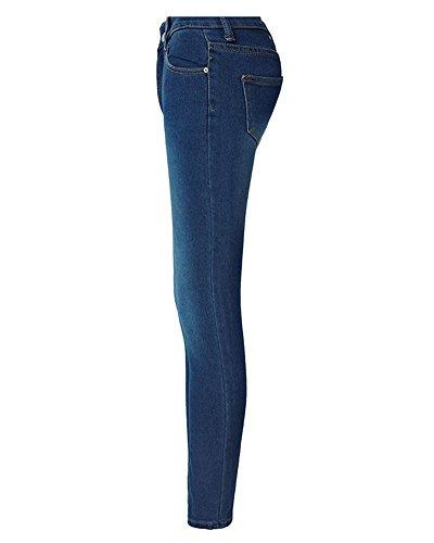 Jeans Blu Marino Alta Matita Pantaloni Stretti Donna Casuale Vita Skinny Lunghi Da rqW5wgvrHO