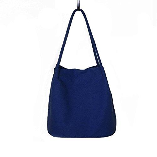 Ecokaki Women's Dual-Function Shoulder Bag Canvas Drawstring Bag Shopper Handbag Blue