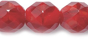Preciosa Czech Fire 10mm Polished Glass Bead, Faceted Round, Opal Dark Red, 40-Pack