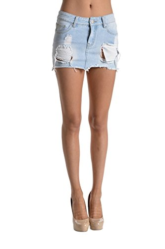 American Bazi Women's Denim Short Mini Skirts RSS801 - LT.BLUE -LRG C11F