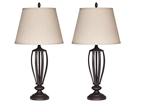 (Contemporary Table Lamps - Set of 2 - Lightning For Your Bedroom Or Living Room - Empire Shade - Bronze Metal Base - 3-way Switch - 150 Watt max)