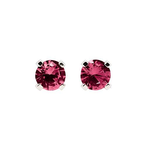 3mm Tiny Dark Red Garnet Gemstone Post Stud Earrings in Sterling Silver - January Birthstone