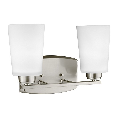 28902-962 Franport Vanity, 2-Light 200 Total Watts, Brushed Nickel (Sea Gull Lighting Bathroom Bulbs)