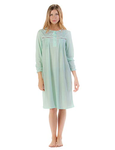 Exorcist Halloween Costumes (Casual Nights Women's Long Sleeve Pointelle Embroidered Night Gown - Green -)