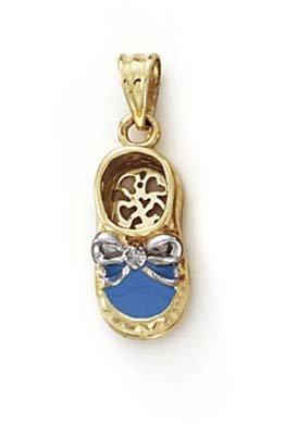 14 carats diamants bruts émail Bleu-Pendentif Chaussure Bébé-JewelryWeb