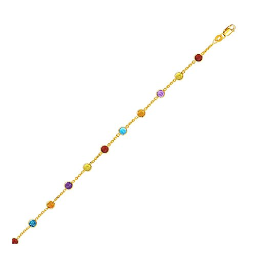 14K Yellow Gold Cable Anklet with Round Multi Tone Stations Design by SILVER LINING COLLECTIONS