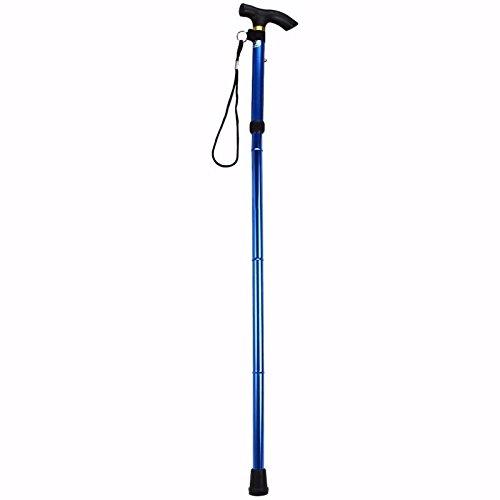 Blue Folding Walking Stick Hiking Trekking Trail Aluminium 4-section Adjustable Cane