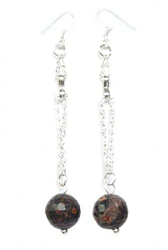 Leopard Jasper Earrings on 925 sterling silver hooks - Leopard Jasper Earrings