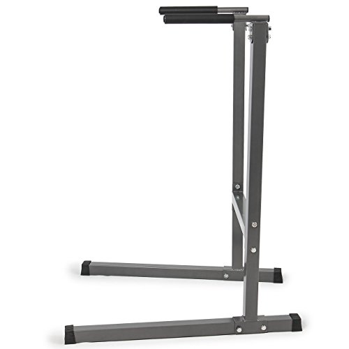 Akonza Heavy Duty Dip Stand Dip Station Tower Triceps Home Workout Gym Gray