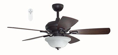 Litex TLEII44OSB5L One Step Bronze 44-inch Ceiling Fan with Quick Connect Five Reversible Blades Sienna/Driftwood