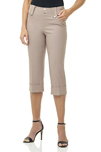 Rekucci Women's Ease in to Comfort Fit Modern Classic Cuffed Capri (12,Khaki)