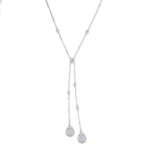 Clear Crystry Tear Drop Cz Charm Simple Y Style Chain Long Necklaces & Pendant Rose Gold Color Sexy Chain Jewelry for Women