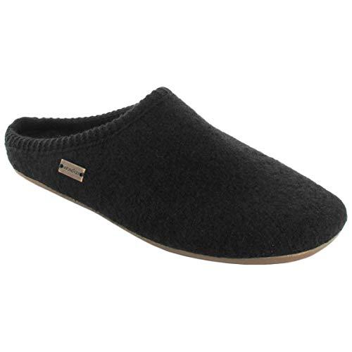 Haflinger Womens Dakota Classic Wool Felt Schwarz Sandals 9 US (Schwarz Classic)