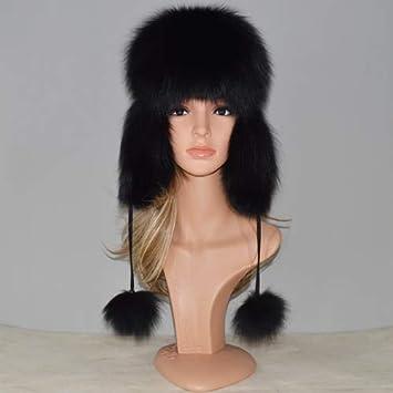 Amazon.com  Gold Happy Fur Hat for Women Natural Fox Fur Russian ... fc0eb385374f