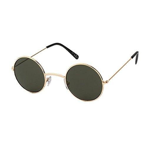 Sonnenbrille Unisex Rund Hippie Brille John Lennon getönt 400UV langer Steg dunkelgrau caimzm