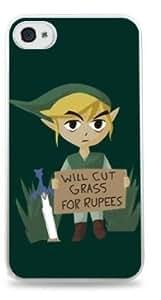 Will Cut Grass For Rupees Zelda Apple iPhone 4/4S Hardshell Case - White -651 by icecream design