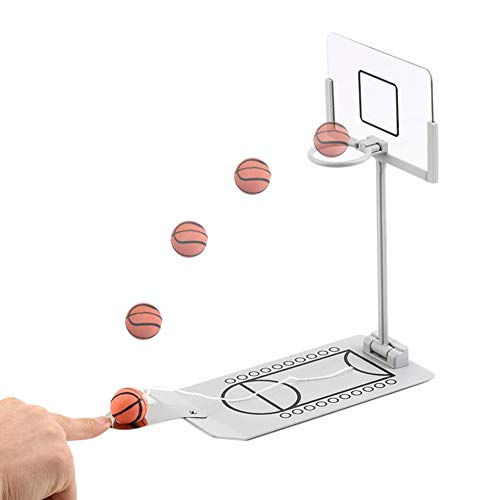 YXTC バスケットボールゲーム 卓上バスケットボール ミニバスケットゴール テーブルゲーム 大人も楽しめる 仕事と勉強中にストレス解消 スポーツゲーム (シルバー)