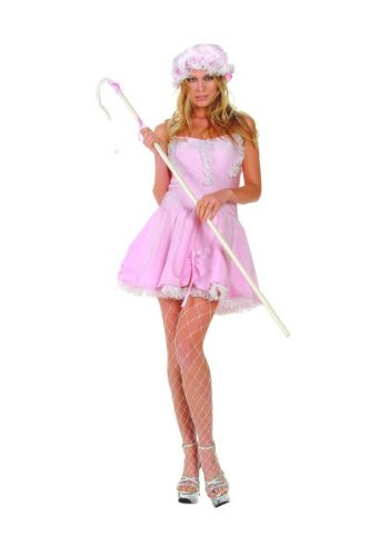 RG Sexy Lil' Bo Peep Halloween Costume Fairytale Storybook Satin Dress Adult Large Pink (Bo Peep Costume For Adults)