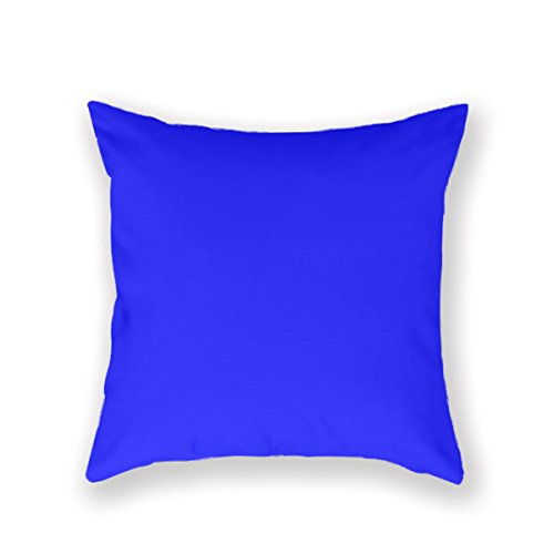 Hihigh Custom Throw Pillow Cover Cotton Pillowcase Square Cushion Cover Cobalt Blue Blue Color Bright Blue Throw Pillow Case Two Sides 20