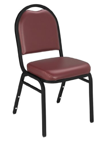 "NPS 9208-BT Vinyl-upholstered Dome Back Stack Chair with Steel Black Sandtex Frame, 300-lb Weight Capacity, 18"" Length x 20"" Width x 34"" Height, Burgundy"