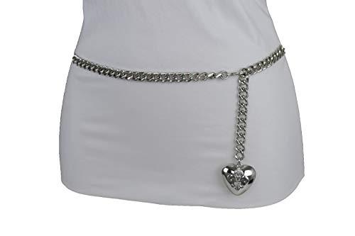 Women Hip Waist Silver Metal Chain Fashion Belt Love Heart Buckle Charm XS S M by RIX Fashion Luxury (Image #10)'
