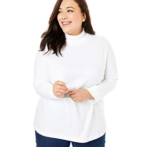 Woman Within Women's Plus Size Perfect Long Sleeve Mock Turtleneck - White, M