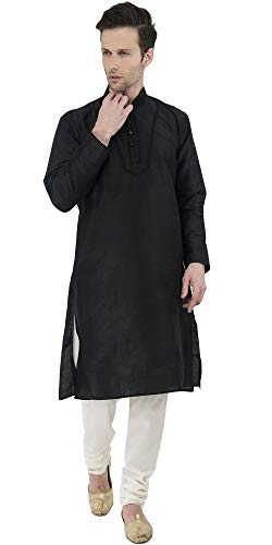 SKAVIJ Men's Tunic Kurta Pyjama Set Party Wear Ethnic Dress (Large, Black)