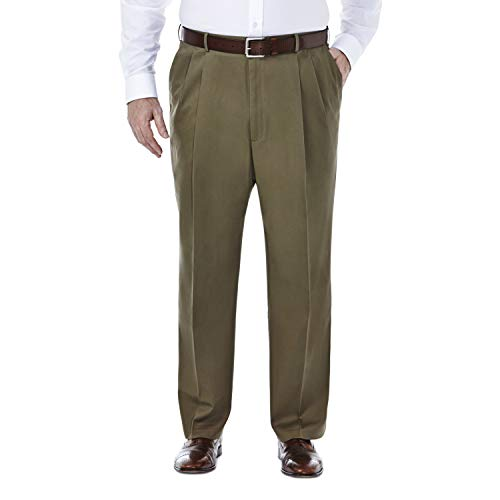 Haggar Men's Big and Tall B&t Premium No Iron Classic Fit Expandable Waist Pleat Front