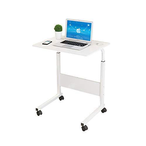 (Adjustable Height Computer Cart Mobile Laptop Desk Stand Laptop Table On Wheels for Bed and Sofa,Color: Woodgrain (White))