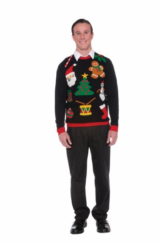Forum Novelties Adult Everything Ugly Christmas Sweater, Multi, Large (Big Man Costume Ideas)