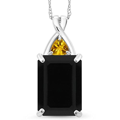 - 5.20 Ct Octagon Black Onyx Yellow Citrine 10K White Gold Pendant