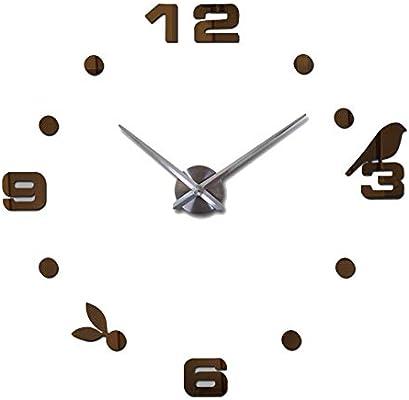 DaoRier Reloj de Pared 3D con Números Adhesivos DIY Bricolaje Moderno  Decoración Adorno para Hogar Exquisita Decoración 80-120CM (Marrón) a94fa2ccf26e